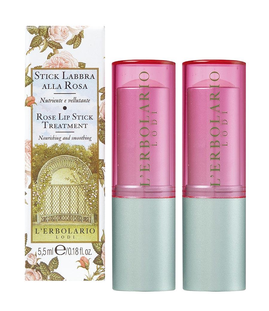 Global Mall新北中和的L'ERBOLARIO玫瑰保溼護脣膏,推薦價550元,加1元多1件。(Global Mall提供)