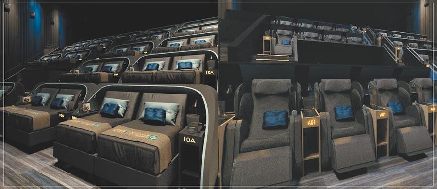 桃園新光影城席伊麗廳38席選用市價逾50萬元的奢華電動床組床墊(左);OSIM天王廳30席採用市價約19萬元的4手天王按摩椅(右),每人票價皆800元,是一般影廳300元約2.7倍。(新光影城提供)