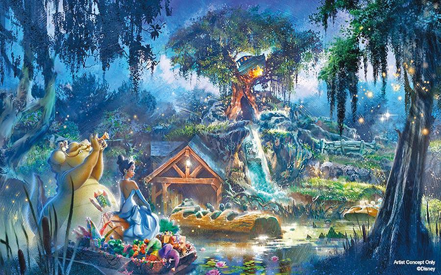 迪士尼樂園決定將飛濺山的主題改成《公主與青蛙》。(摘自disneyfoodblog)