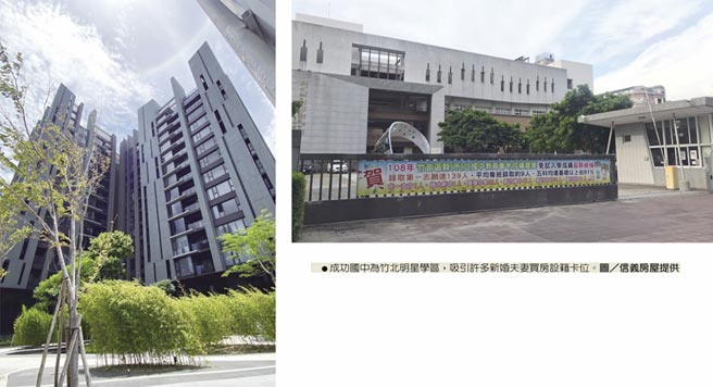 成功國中為竹北明星學區,吸引許多新婚夫妻買房設籍卡位。圖/信義房屋提供