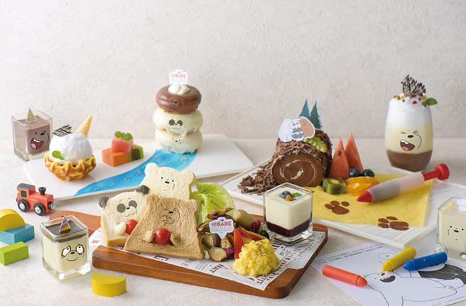 和逸飯店台南西門館Cozzi KITCHEN推出今夏最萌的「熊熊遇見你」主題下午茶,把大大、胖達和阿極三隻可愛的角色都融入餐點裡。圖/業者提供