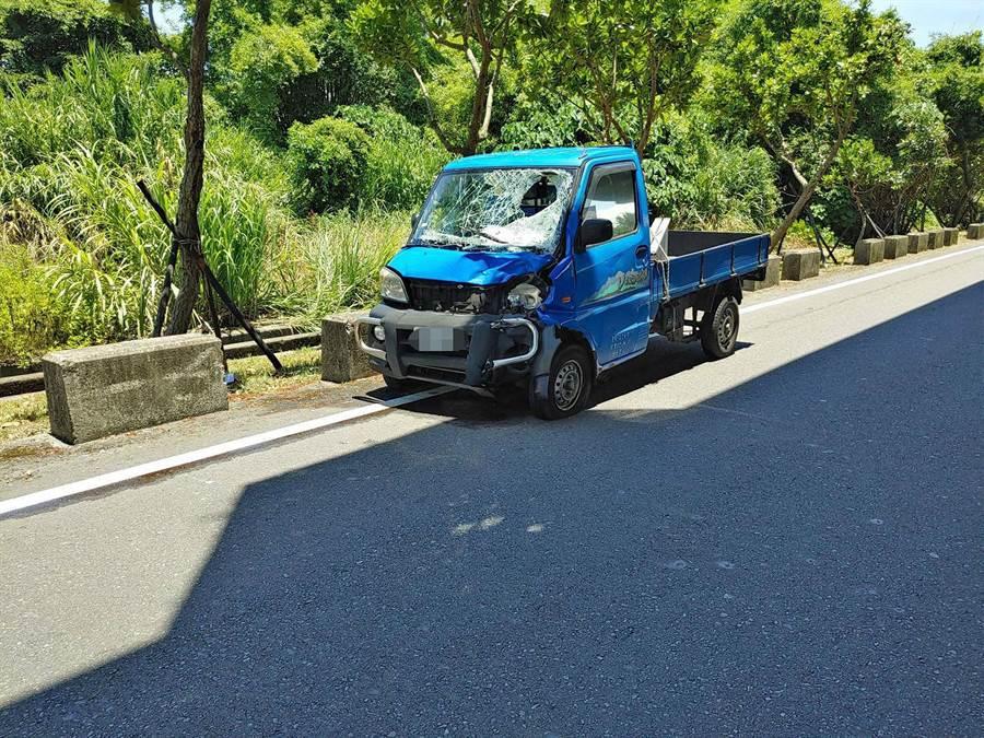 車禍發生地點在宜蘭縣壯圍鄉美福路2段與國道5號側車道路口。(讀者提供/李忠一宜蘭傳真)