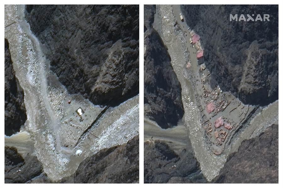 中印邊界的喜馬拉雅加勒萬地區發生死亡衝突後,兩國經過談判已後撤駐軍,但其周邊仍集結大量重裝部隊,新的衝突可能隨時會發生。圖為加勒萬河谷5月22日(左)與6月23日(右)的衛星照片,明顯看出這段期間印方增加構築了許多軍事工事。(圖/美聯社)