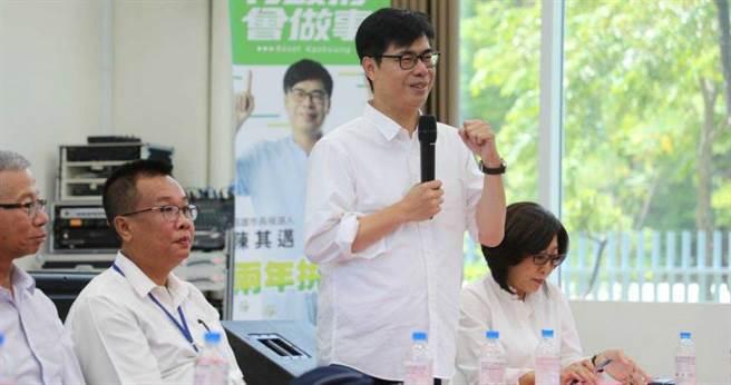 民進黨高雄市長參選人陳其邁今早參訪和發產業園區,強調當選後會極力改善「五缺」。(圖/陳其邁競選團隊提供)