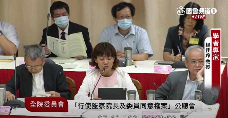 高師大性別教育研究所副教授楊佳羚。(取自國會頻道)