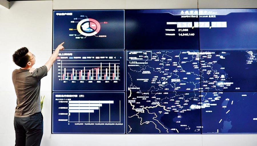 易裁剪指揮中心大螢幕上,各工廠訂單生產情況一目了然。(文波攝)