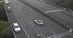 國道3號自撞車禍超驚險 未繫安全帶2人彈飛倒地