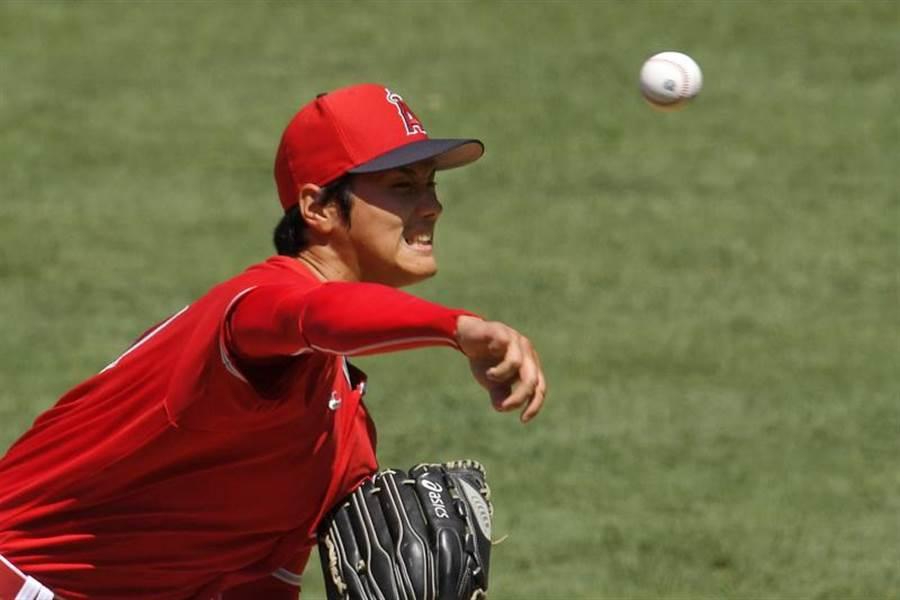 大谷翔平今天在天使隊內部紅白賽再度登板,但控球仍未到位。(美聯社)