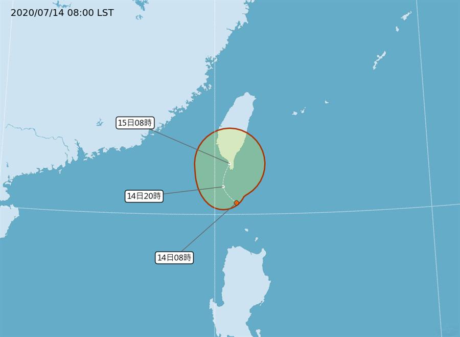 熱帶性低氣壓TD04不排除會登陸台灣。(氣象局)