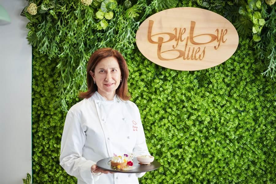 由義大利主廚派翠西亞‧班尼狄托開的「Bye Bye Blues」甜點咖啡廳。(台南市政府觀旅局提供/李宜杰台南傳真)