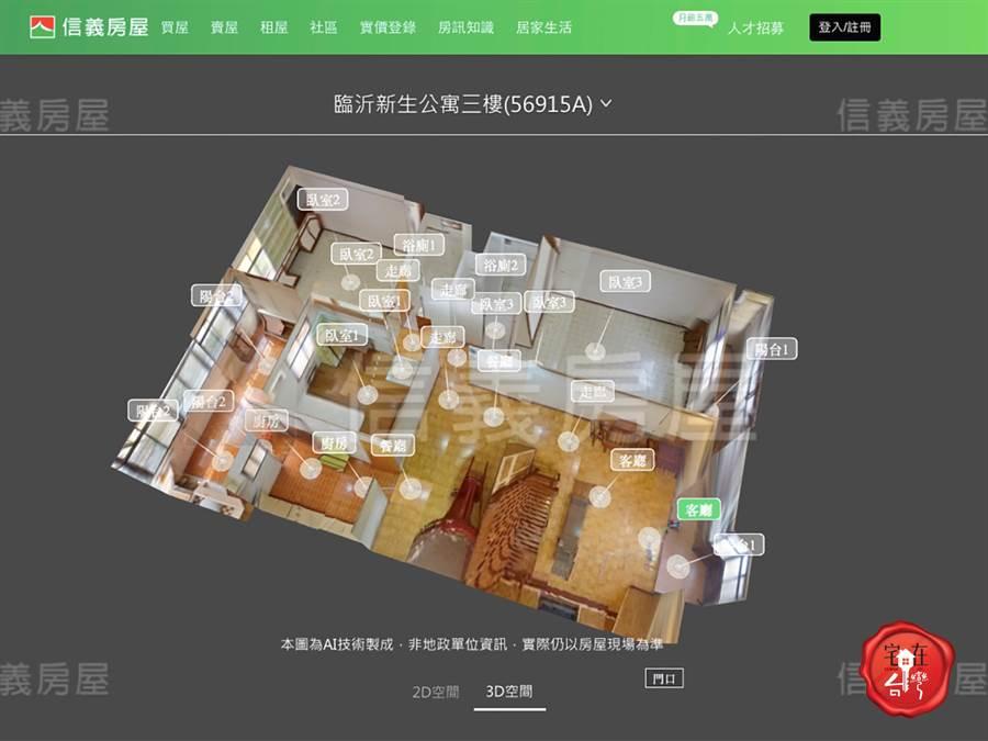 用3D賞屋功能,可720度不同角度旋轉。