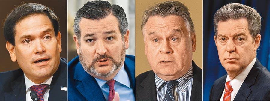 為反制美國插手新疆事務,大陸宣布制裁,美國參議員盧比奧(左一)、克魯茲(左二)、眾議員史密斯(右二)及宗教自由大使布朗巴克(右一)等人。(美聯社)