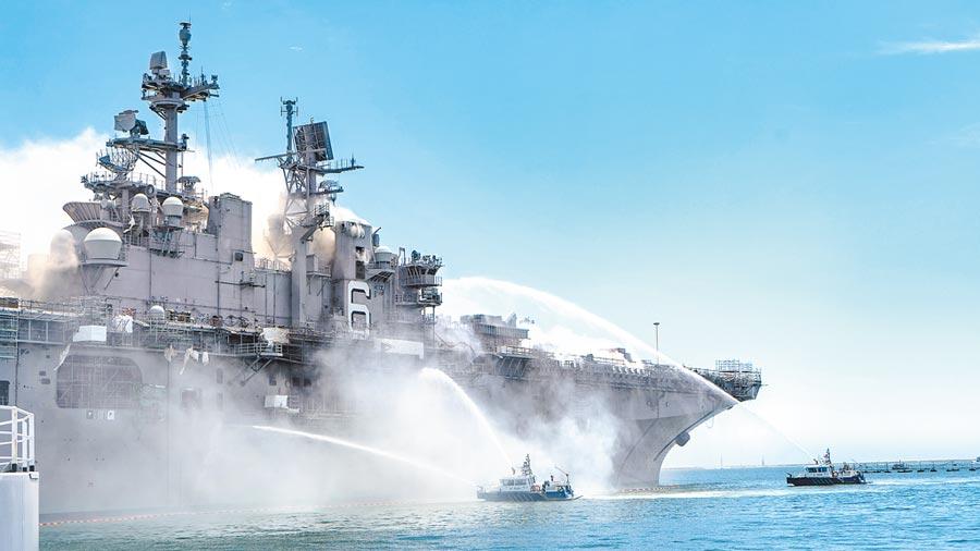 美陸近日都在南海舉行軍演「秀肌肉」,美國更罕見地派出雙航母,較勁意味濃厚,而傳出川普政府本周將就南海的緊張局勢升溫發表聲明,亦引起關注。(美聯社)