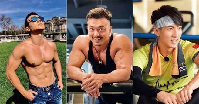 (左)劉畊宏、(中)李沛旭、(右)吳尊,皆是圈內健身有成的藝人。(圖/翻攝自網路)