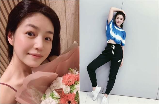 陳妍希一個伸腿抬手的動作,讓她的白嫩蠻腰都現形。(圖/取材自陳妍希 Michelle臉書)