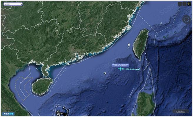 南海戰略態勢感知計劃平台7月15日發佈的美軍E-8C飛機飛行路線,美軍E-8C經由台灣南方巴士海峽進入南海向廣東飛行。(圖/環球時報)