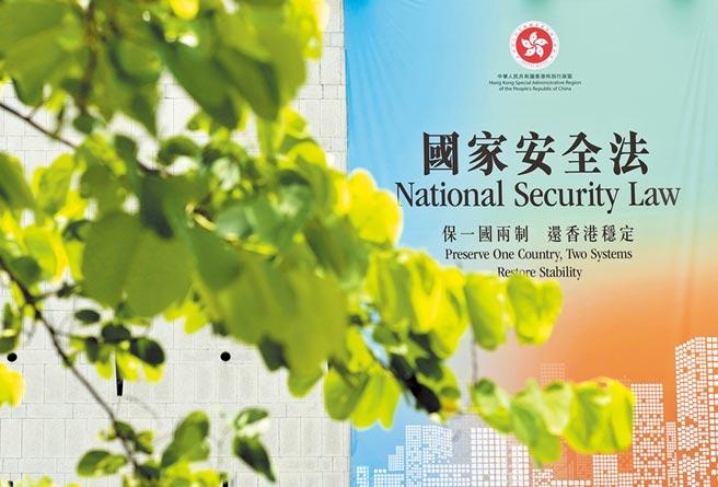 香港中環「香港維護國家安全法」廣告牌。(新華社資料照片)