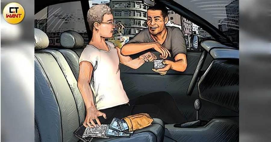 阮男常開著BMW看似無目的閒晃,實則是在工業區附近徘徊,車子一停下就會有人靠近攀談,雙方在車內進行交易。(圖/本刊繪圖組)