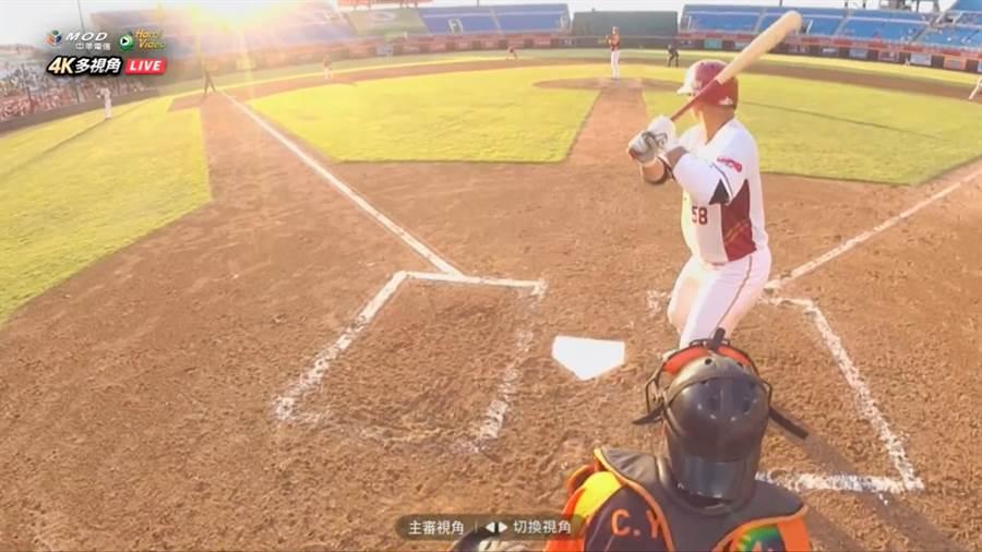 MOD樂天4K轉播:主審頭戴式攝影機 mod全台獨家視角。(中華電信提供/黃慧雯台北傳真)