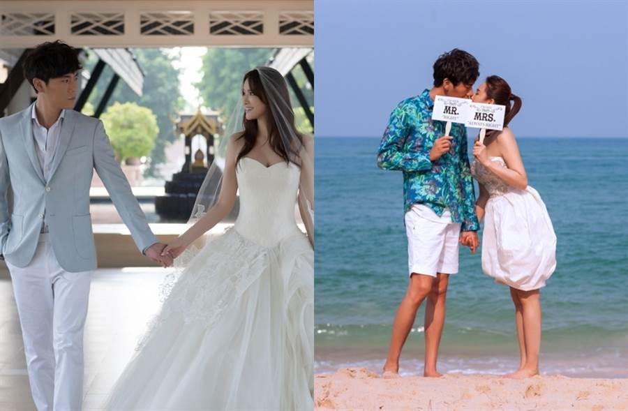 伊能靜2015年和秦昊在泰國普吉島拍婚紗照。(圖/取自新浪娛樂)