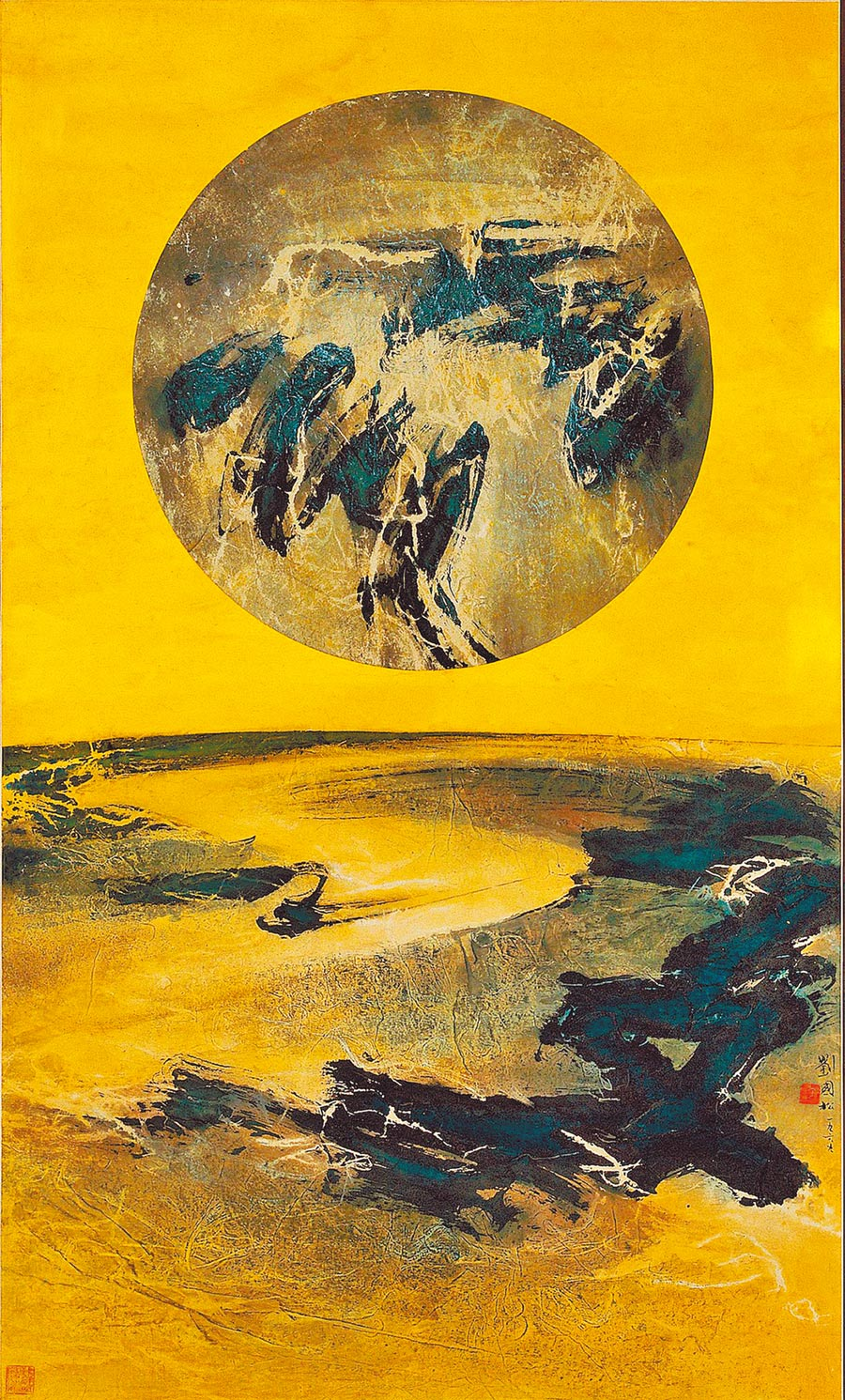 劉國松為少數關注人類登月事件的前輩藝術家。(高美館提供/本報資料照片)