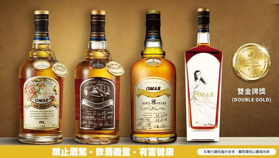 台灣菸酒公司南投酒廠的「OMAR威士忌」於2020年美國舊金山世界烈酒競賽(SFWSC)中,總共榮獲4面雙金牌、2面金牌,以濃厚的台灣風土特色,再次為台灣威士忌揚眉吐氣,站上世界巔峰。圖/業者提供