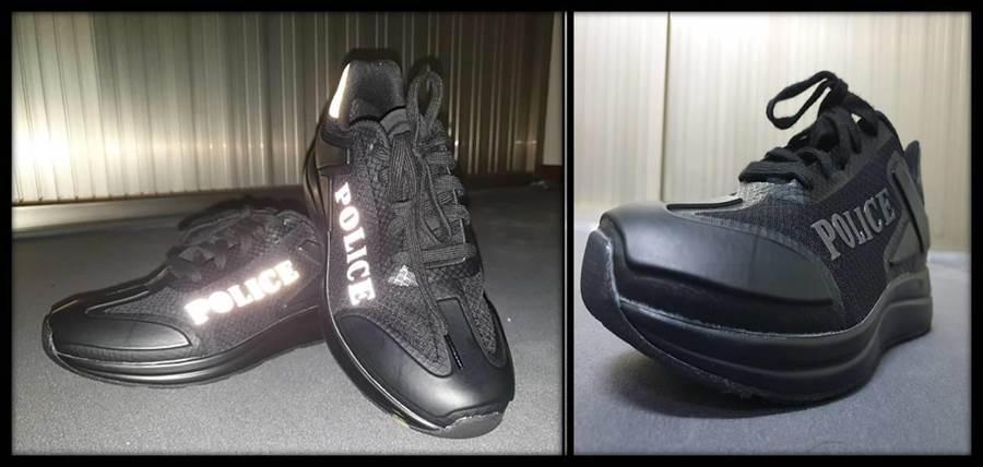 波丽士大人专用鞋具BMI身体密度中大底、软式防护盔甲、反光不熄灭安全片、TPU武士犀牛皮保护膜等特色,同时使用「POLICE」字样,提升警察专业形象。(大雅分局提供/王文吉台中传真)