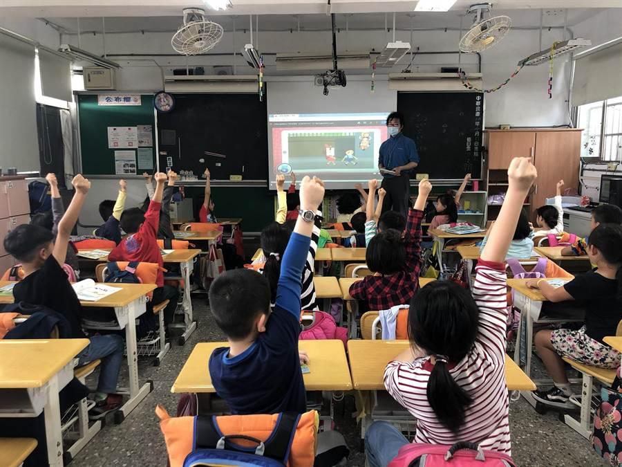 兒童交通安全數位教材特別設計互動式問答題型,讓小朋友熟記交通規則。(業者提供)