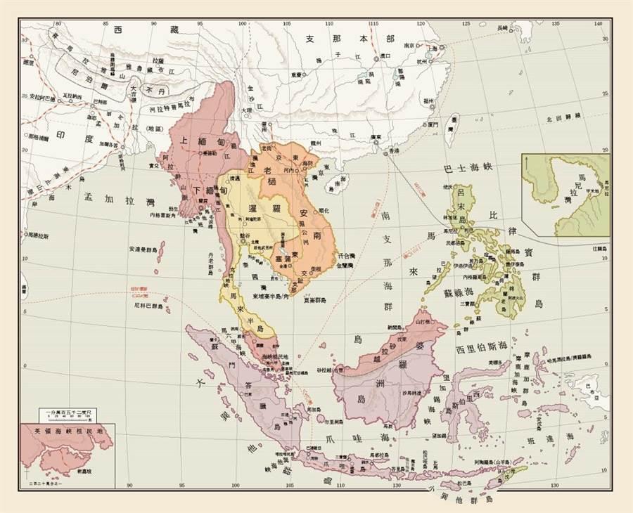 《椰子的葉蔭》中譯新書南洋地圖插頁。(林試所提供/李柏澔台北傳真)