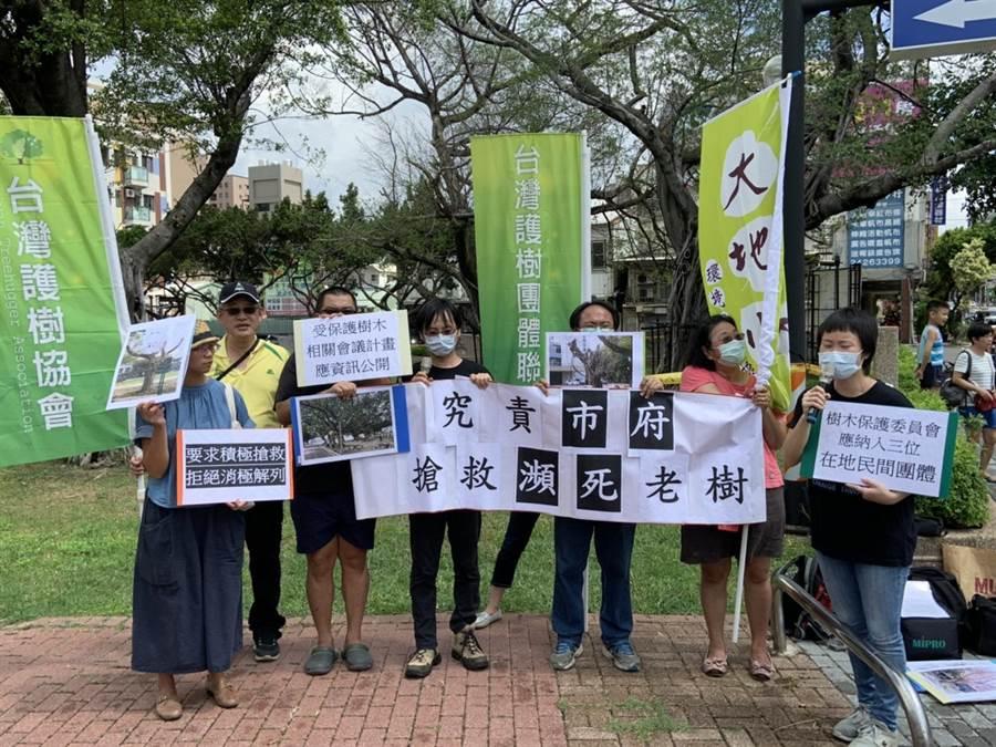 台中市民間護樹團體17日聚集陳情,盼台中市政府搶救老樹。(讀者提供/張妍溱台中傳真)