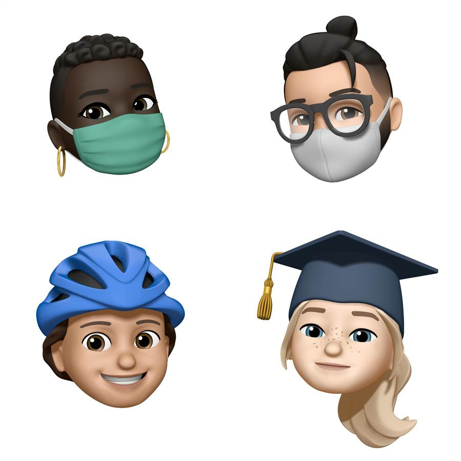 iOS 14等最新蘋果作業系統中將加入的Memoji示意,納入了疫情下的口罩裝飾。(蘋果提供/黃慧雯台北傳真)