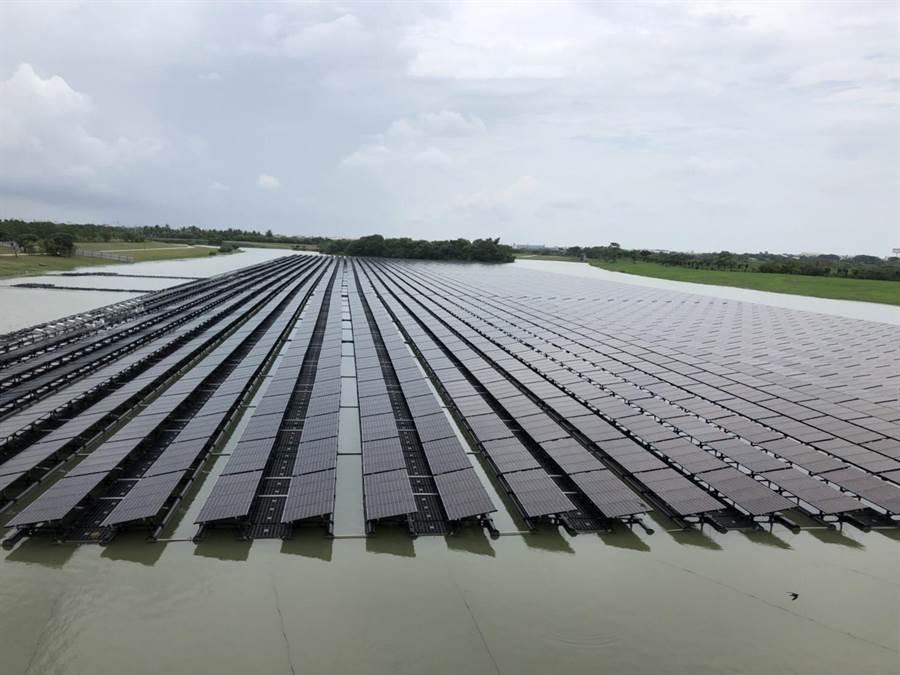 台南市水利局於南科滯洪池設太陽能發電設備,每年可收租金455萬。(台南市水利局提供/劉秀芬台南傳真)