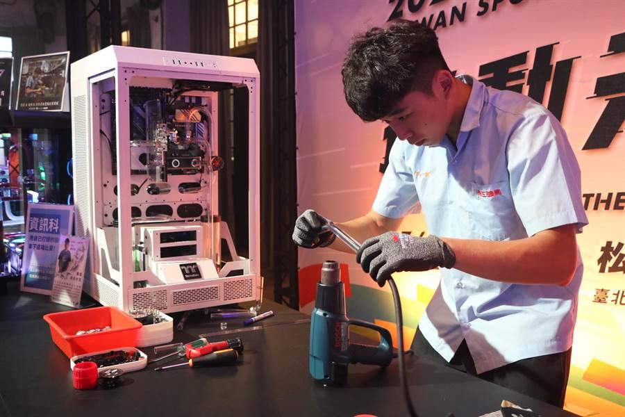 新北市南強工商受邀參加2020台灣運動產業博覽會,展現電競水冷系統改裝的作品。(南強工商提供)