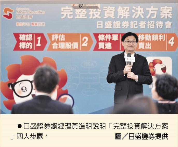 日盛證券總經理黃進明說明「完整投資解決方案」四大步驟。圖/日盛證券提供