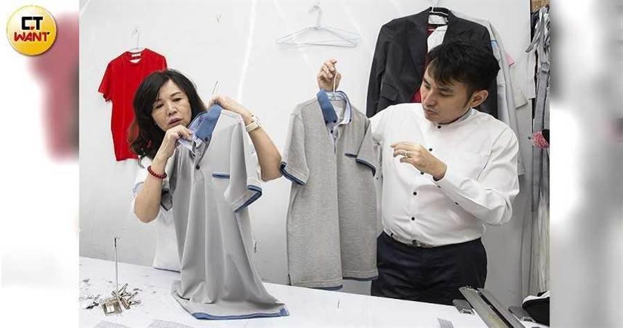 威合威務公司的POLO衫制服,採用灰藍色突顯專業感,看起來朝氣又年輕。(圖/黃威彬攝)