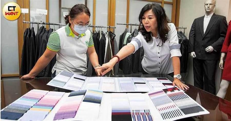 林愛美強調,每家企業都有自己的品牌色系,設計制服時需列入考量。(圖/黃威彬攝)