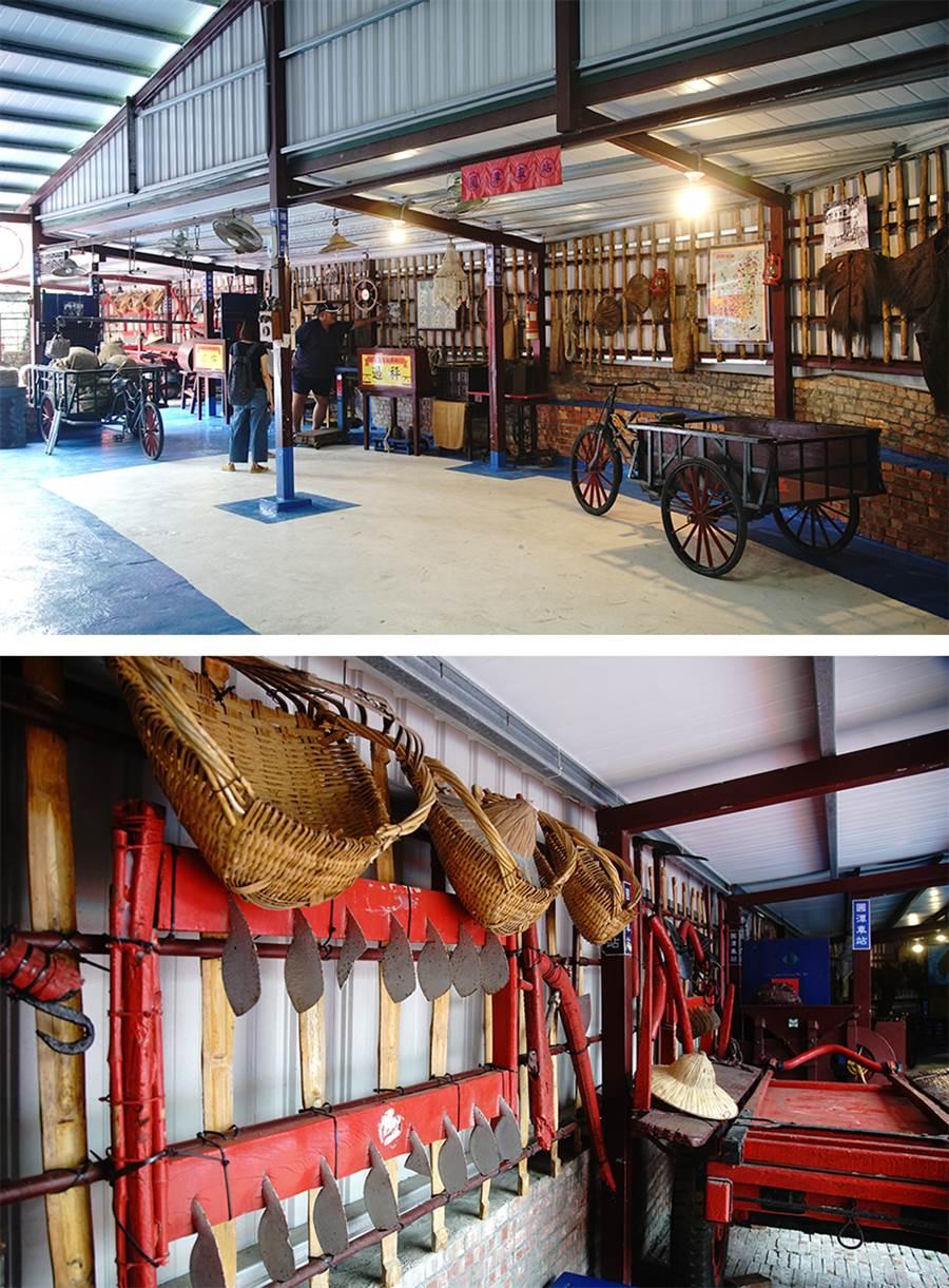 圓潭車站展示各種古早時代農具。(攝影/曾信耀)