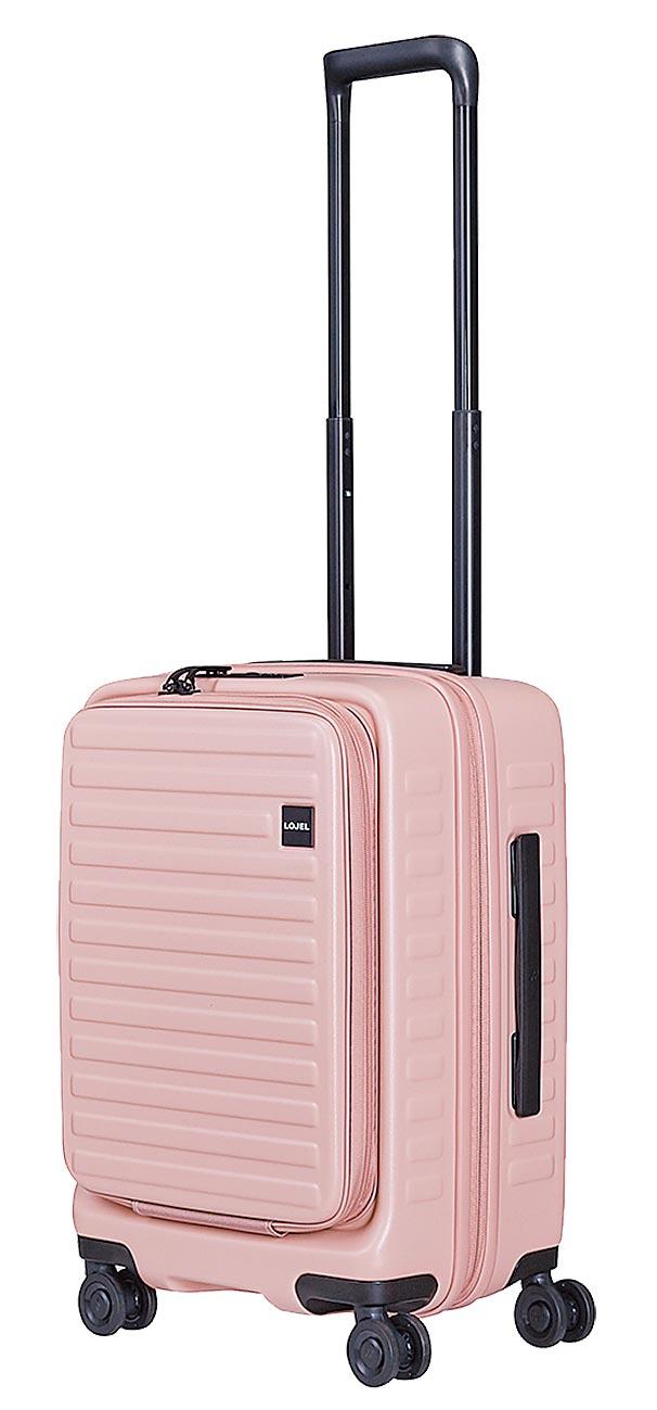 LOJEL主打女性族群,玫瑰粉色Cubo系列21吋行李箱,6624元。(LOJEL提供)