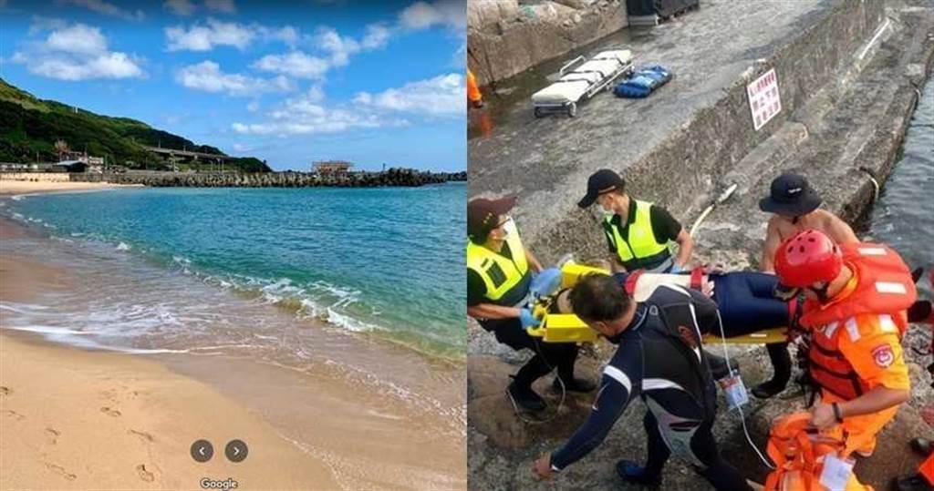 基隆外木山驚傳溺水意外,一名女子被海水嗆到;另有一男子與女友、哥哥前往貢寮自由潛水卻不幸溺斃。(圖/翻攝自Google map、翻攝畫面)