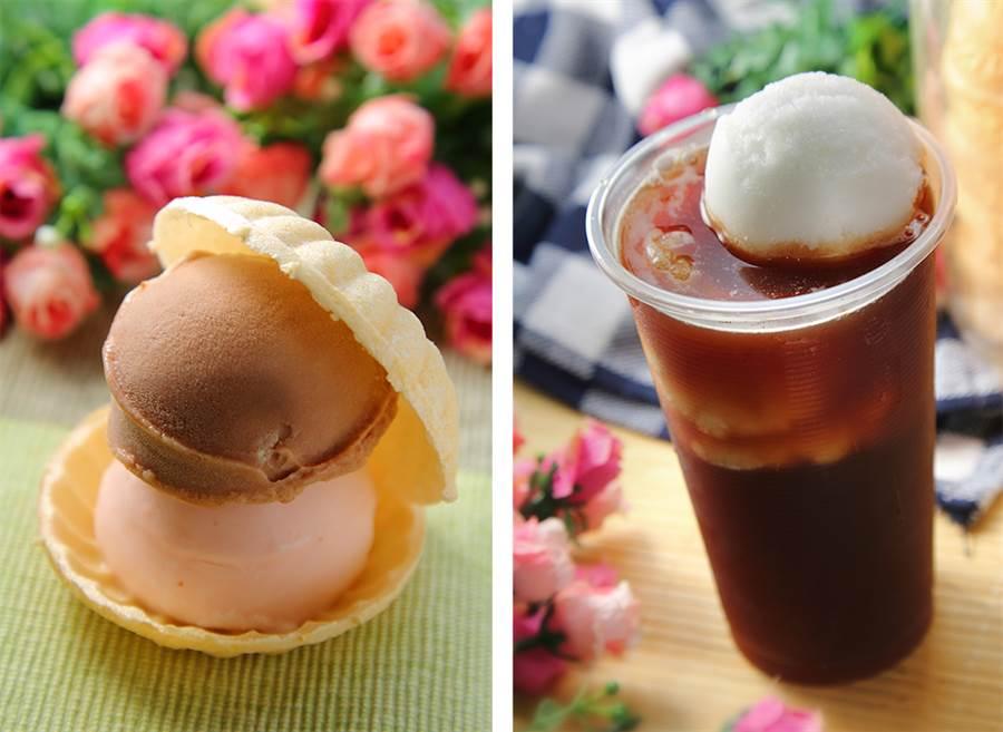 (左)薄薄的餅皮仿製成漢堡模樣,中間夾著冰淇淋,頗有懷舊氣息。(右)混合著雪泥冰的紅茶,是甜而不膩的傳統滋味。(攝影/Carter)