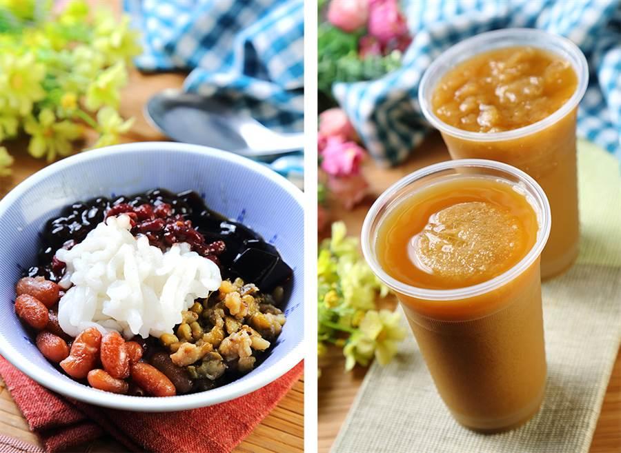 (左)無法吃冰的客人,也能點一碗「呷涼不呷冰」,選擇喜歡的配料享用。(右)除了冰品外,也能來一杯傳統飲品綠豆露,甜而不膩令人回味。(攝影/Carter)
