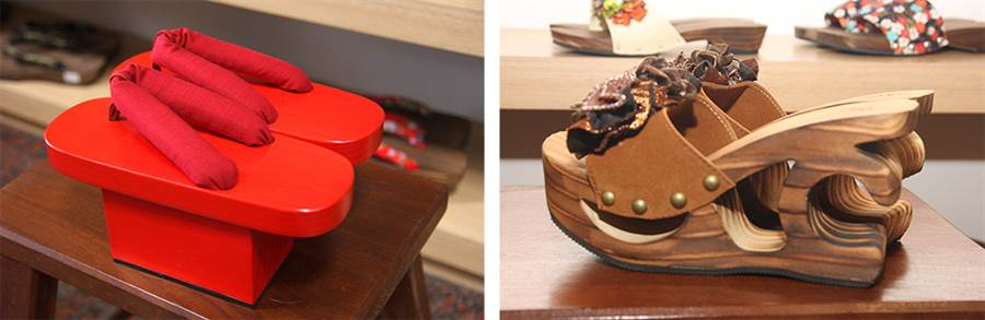 (左)紅色木屐是動漫祭COSPLAY最夯的穿搭之一。(右)木屐鞋跟的鏤空設計可減輕足部的承重負擔。(攝影/Yfung)