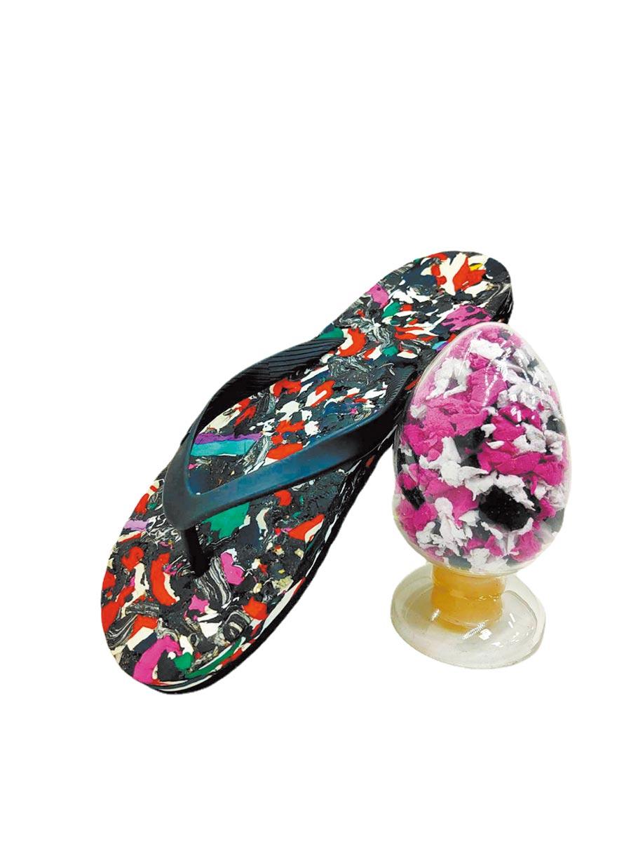 鞋技中心讓EVA發泡鞋材的邊角料由廢棄物轉化為具有獨特花紋的環保拖鞋樣式。圖/工研院提供