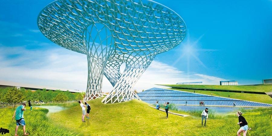 歷時3年籌備,沙崙智慧綠能科學城啟動招商了,圖為D區示範場域太陽能樹示意圖。(翻攝照片/曹婷婷台南傳真)