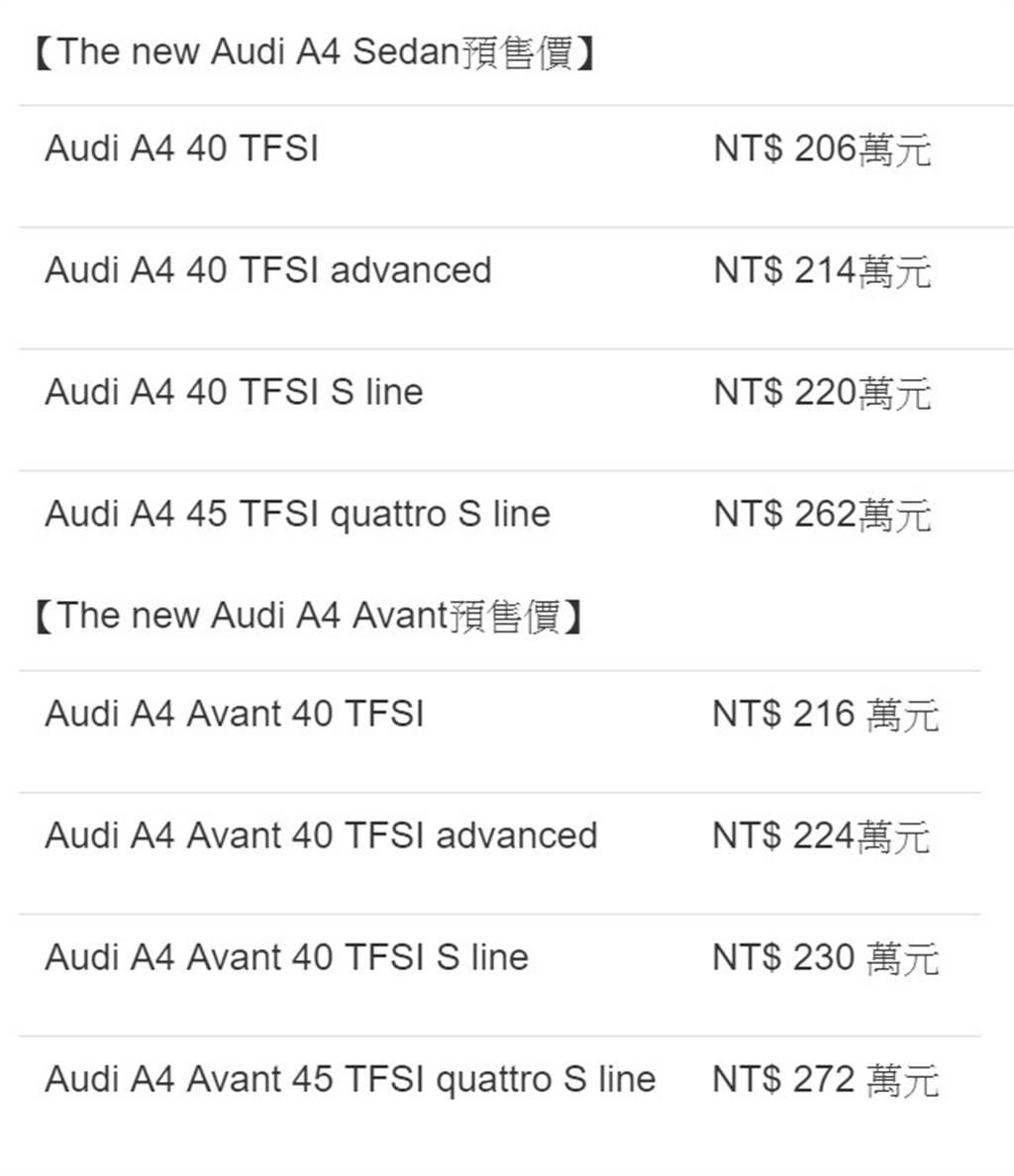 A4/A4 Avant車型預售價