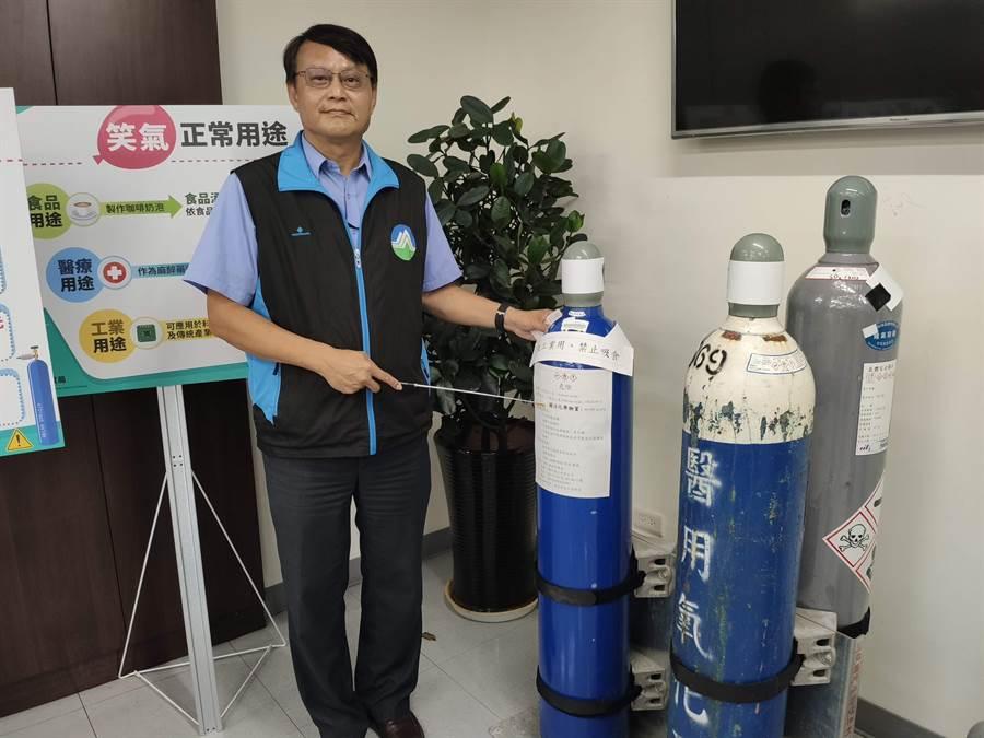 環保署今天把笑氣(一氧化二氮)預告為我國第一個關注化學物質,並將與經濟部、衛福部及警政機關等聯手管制。(林良齊攝)