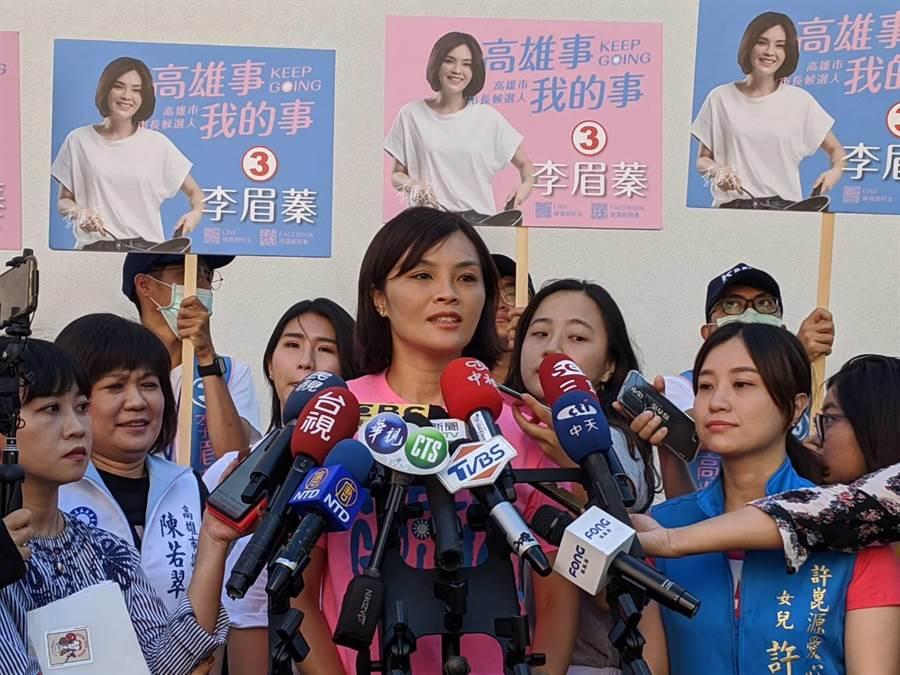 國民黨高雄巿長補選候選人李眉蓁20日受訪。(曹明正攝)