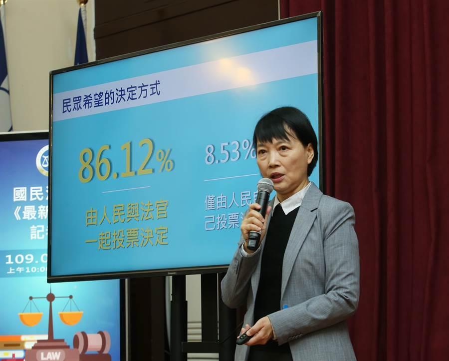 刑事廳廳長彭幸鳴(見圖)表示,72.91%民眾認為與法官一起討論,納入國民多元意見,86.12%贊成民眾與法官一起決定判決結果。(陳怡誠攝)