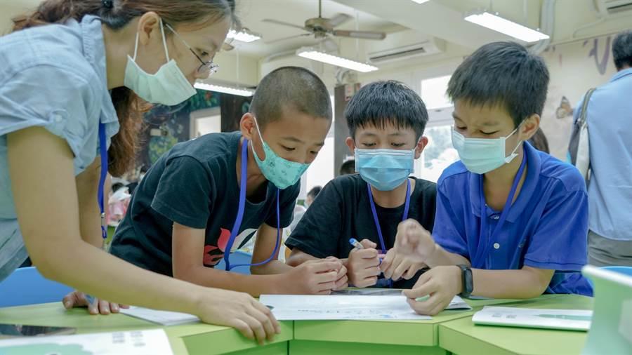 小組集思廣益討論如何不以尺標丈量長度。圖片提供/善科教育基金會