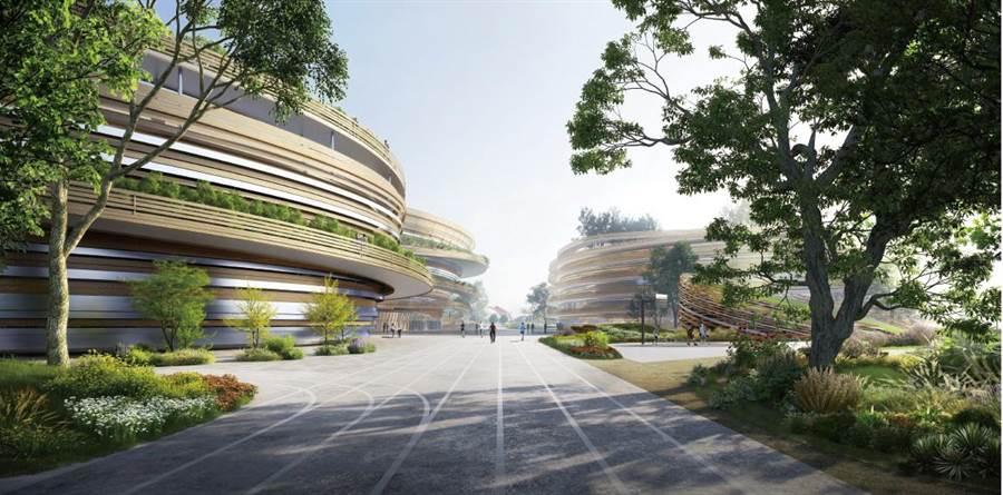 「台中巨蛋」第二階段評選由日本知名建築師隈研吾(KENGO KUMA)組成的台日團隊作品獲選。(台中市府都發局提供/陳淑芬台中傳真)